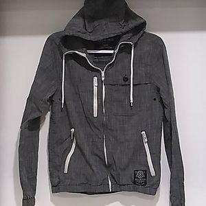 ECKO UNLTD• grey lightweight zip up hooded jacket